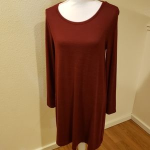 Gap Long Sleeve Softspunt Swing Dress, Burgundy